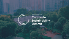 Corporate Sustainability Summit logo and green city image