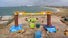 Image showing 2m diameter pile field testing at Dunkirk France, used for validation of the new design method