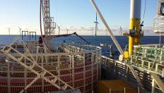Cable laying sea vessel at wind farm