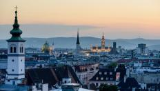 Skyline and rooftops of Vienna at dusk