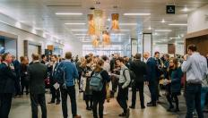 Event attendees mingling at the Low Carbon Cities 2018 conference