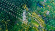 Power lines over field