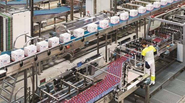 evian water production line