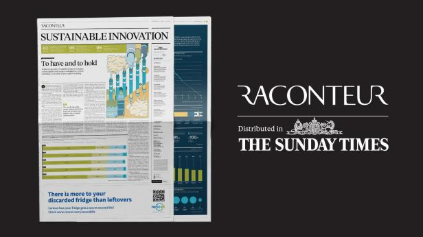 Newspaper with the caption Raconteur, distributed in the sunday times