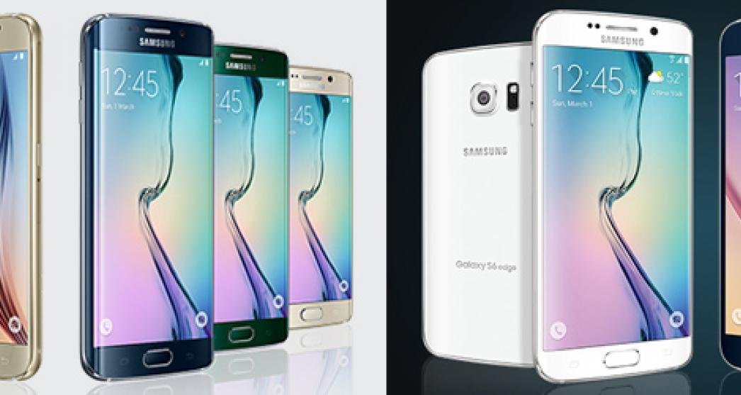 Samsung Galaxy range of smart phones displayed