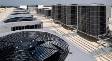 Air conditioning units on top of a building