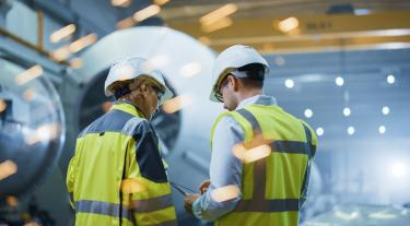 Workers in industrial plant