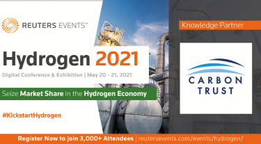 Banner reads: Reuters Events Hydrogen 2021 Digital conference and exhibition. Seize market share in the hydrogen economy. #KickstartHydrogen. Knowledge Partner: Carbon Trust.