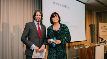Richard Rugg pictured with the UK's Climate Change and Industry Minister, Claire Perry, at the Carbon Trust Low Carbon Cities Conference