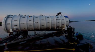 Microsoft's project Natick, a data centre which is stored underwater near the Orkney Islands for cooling purposes.