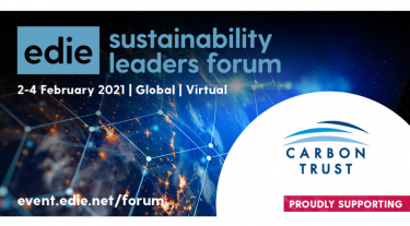 Edie sustainability leaders forum - 2 til 4 February 2021 - Global, Virtual. Proudly supported by the Carbon Trust.