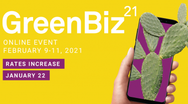 GreenBiz 21 - online event - February 9-11 2021. Rates increase January 22nd. Image of a smartphone with a cactus coming out of it.