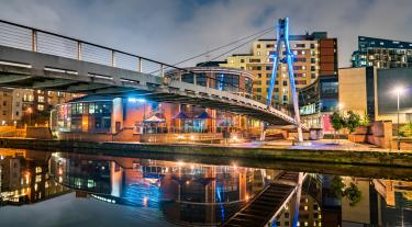 Footbridge across the Aire River in Leeds, England