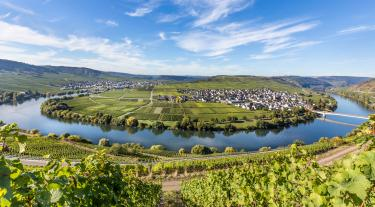 Moselle river loop in Trittenheim, Germany