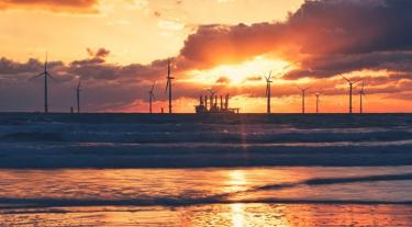 Offshore wind farm sunset
