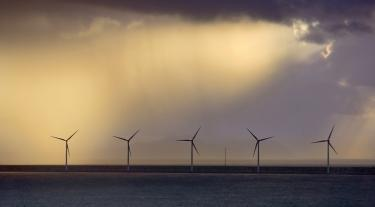 five offshore wind turbines at dusk