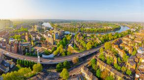 Aerial view of Hammersmith in the morning, London, UK