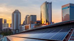 Buildings with solar panels