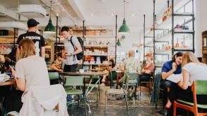 People eating in a cafe